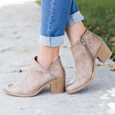 Womens Fashion Ankle Zipper Pointed Toe Chunky Booties On Sale_2