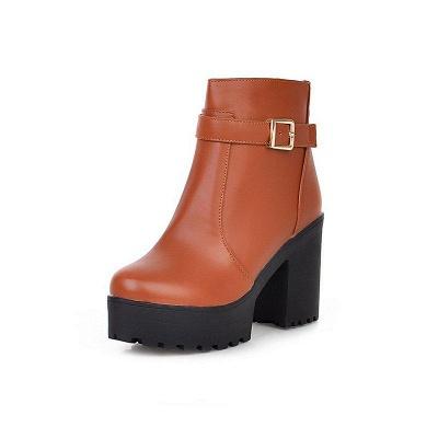 Daily PU Chunky Heel Round Toe On Sale_6