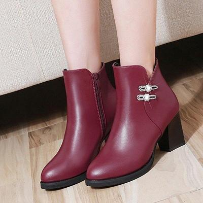 Chunky Heel Rhinestone Daily Pointed Toe Zipper Elegant Boots On Sale_5