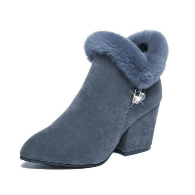 Suede Daily Zipper Chunky Heel Fur Pointed Boots On Sale_5