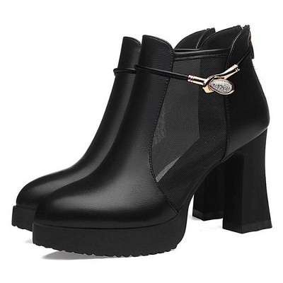 Daily Chunky Heel Buckle Pointed Toe Elegant Boots On Sale_5