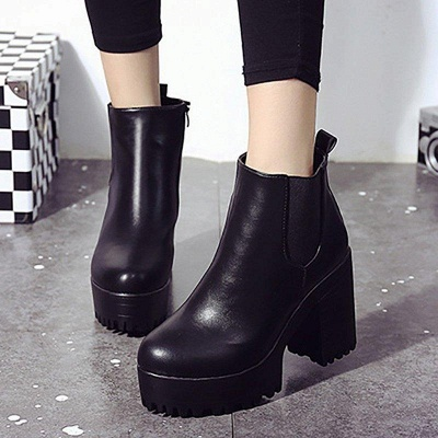 Daily Chunky Heel Round Toe Boots On Sale_2