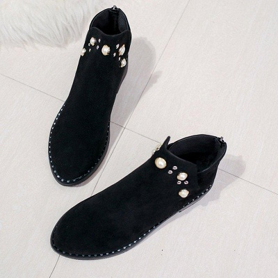 Suede Chunky Heel Daily Beading Round Toe Boot On Sale_4