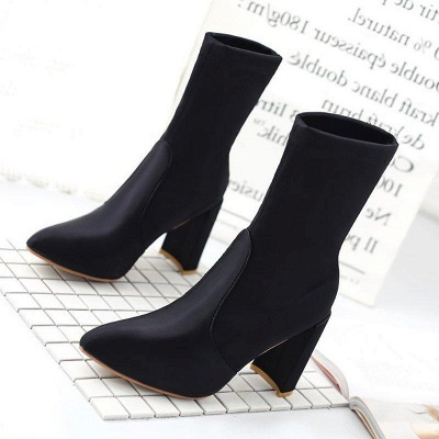 Daily Chunky Heel Zipper Pointed Toe PU Boots On Sale_4
