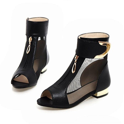 Mesh Hollow-out Peep Toe Summer Boots On Sale_1