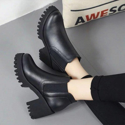 Daily Zipper Chunky Heel Round Toe Suede Boots On Sale_3