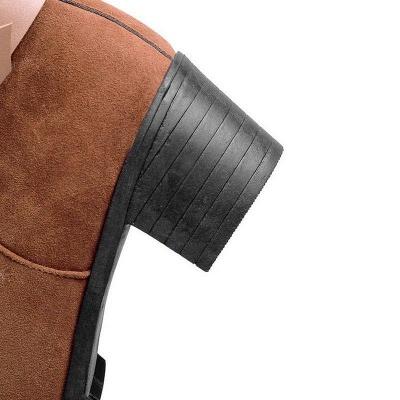 Buckle Chunky Heel Pointed Toe Elegant Boots On Sale_9