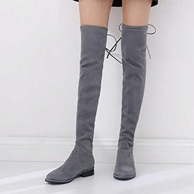 Suede Chunky Heel Buckle Boot On Sale_4