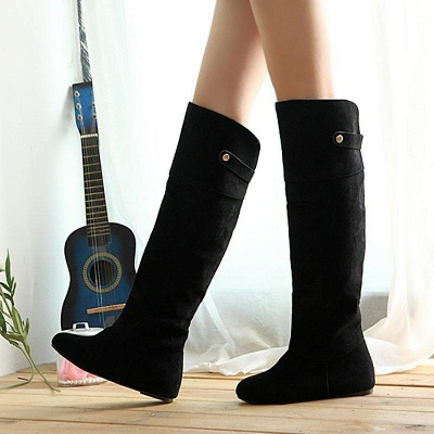 Suede Fall Round Toe Wedge Boots On Sale_4