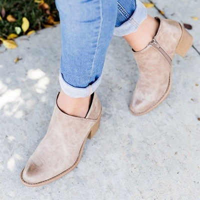 Womens Fashion Ankle Zipper Pointed Toe Chunky Booties On Sale_5