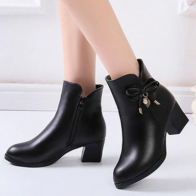 Bowknot Daily Chunky Heel Pointed Toe Zipper Elegant Boots On Sale_4