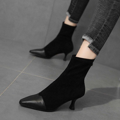 Zipper Cone Heel Daily Pointed Toe Boots On Sale_2