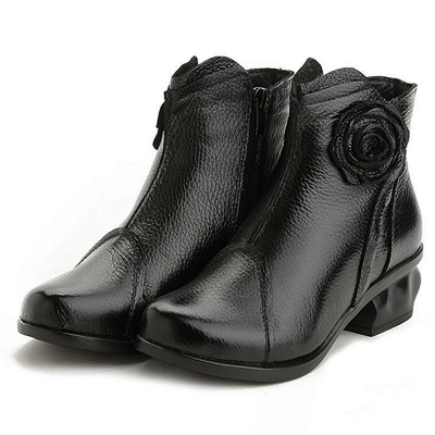 Daily Flower Round Toe Zipper Chunky Heel Boots On Sale_2