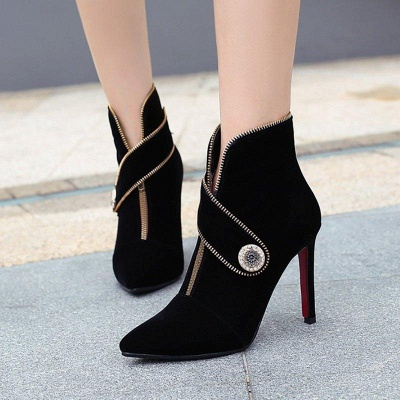 Zipper Daily Stiletto Heel Suede Pointed Toe Elegant Boots On Sale_2