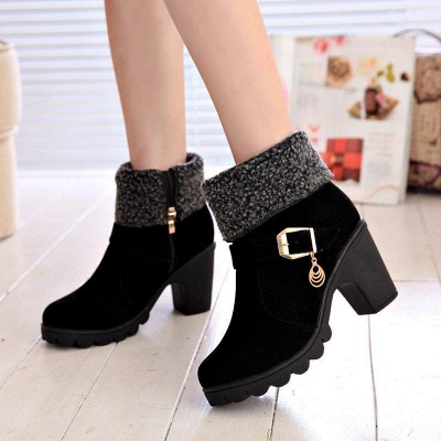 Fall Daily Suede Chunky Heel Round Boots On Sale_1