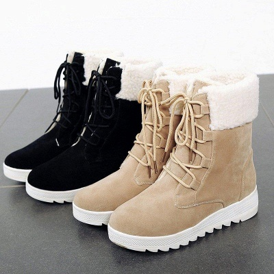 Winter Daily Wedge Heel Lace-up Boots On Sale_5