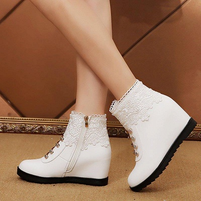 Zipper Daily Wedge Heel Round Toe Boots On Sale_4