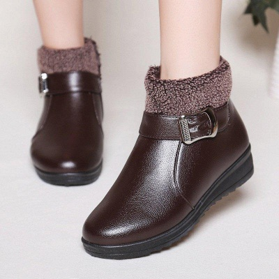 Wedge Heel Daily Zipper Round Toe Buckle Boots On Sale_1