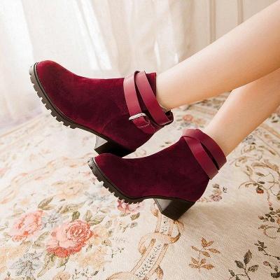 Buckle Chunky Heel Pointed Toe Elegant Boots On Sale_6