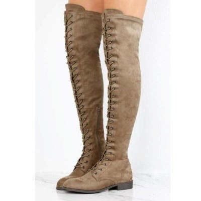 Lace-up Daily Chunky Heel Suede Fall Round Boots On Sale_4
