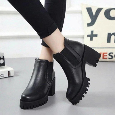 Daily Zipper Chunky Heel Round Toe Suede Boots On Sale_4