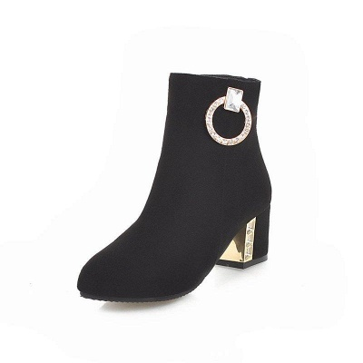 Zipper Daily Chunky Heel Pointed Toe Elegant Boots On Sale_2