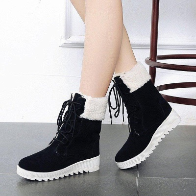 Winter Daily Wedge Heel Lace-up Boots On Sale_4