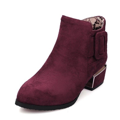 Chunky Heel Suede Button Boots On Sale_2