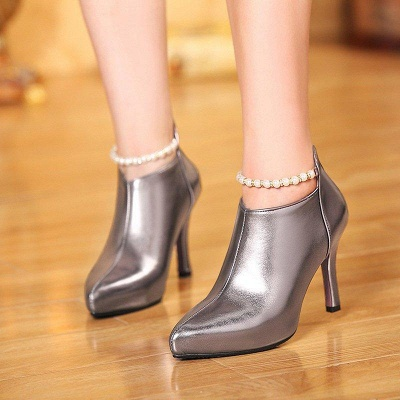 Silver Zipper Daily Elegant Stiletto Heel Pointed Toe Boots On Sale_8