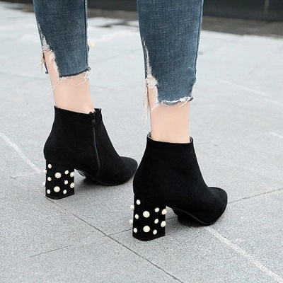 Suede Winter Chunky Heel Beading Pointed Boots On Sale_2