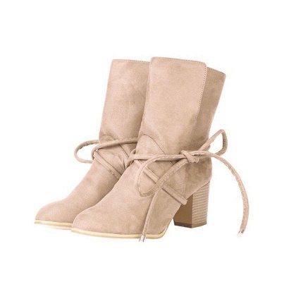 Women's Boots Lace-Up Chunky Heel Round Toe Elegant Apricot Boots On Sale_5