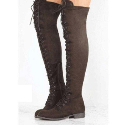 Lace-up Daily Chunky Heel Round Toe Boots On Sale_3