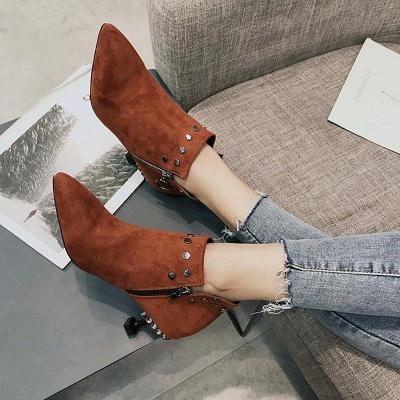 Rivet Kitten Heel Suede Boots On Sale_5