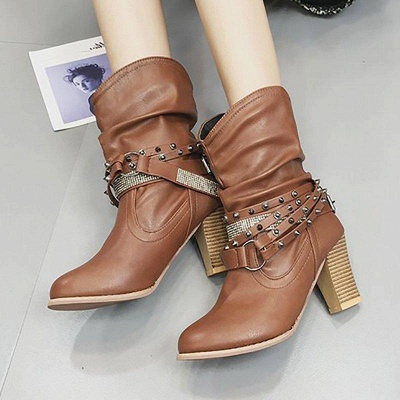 Rivet Chunky Heel Daily Pointed Toe Boots On Sale_6