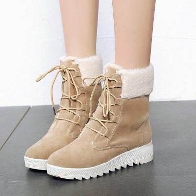 Winter Daily Wedge Heel Lace-up Boots On Sale_2