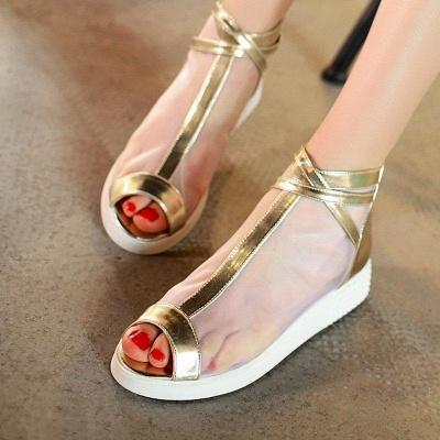 Zipper Daily Peep Toe Wedge Heel Elegant Boots On Sale_4