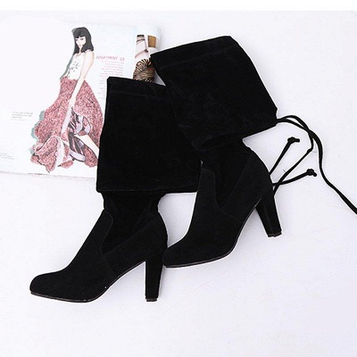 Lace-up Daily Suede Chunky Heel Round Boots On Sale_4