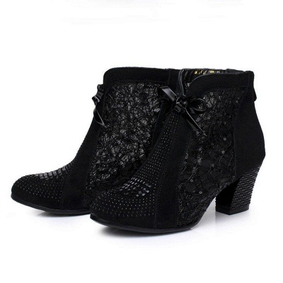 Black Winter Beading Chunky Heel Casual Lace Boot On Sale_2