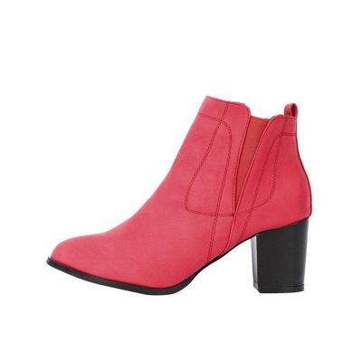 Chunky Heel PU Zipper Boots On Sale_3