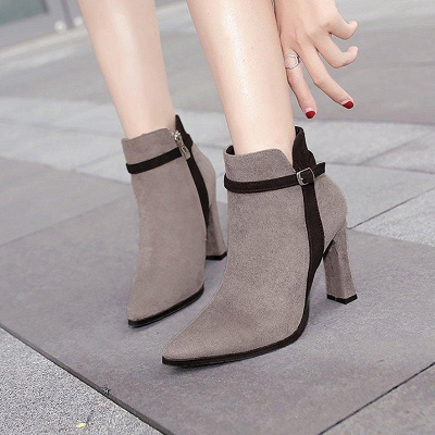 Suede Buckle Chunky Heel Pointed Boots On Sale_1