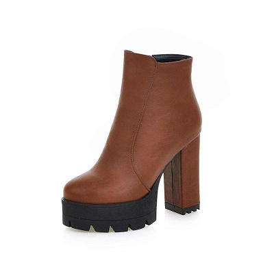Chunky Heel Daily Zipper Round Boots On Sale_7