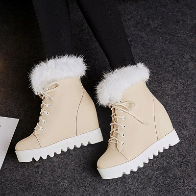 Lace-up Daily Wedge Heel Round Toe Fur Boots On Sale_2