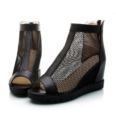 Zipper Daily Peep Toe Wedge Heel Boots On Sale_3