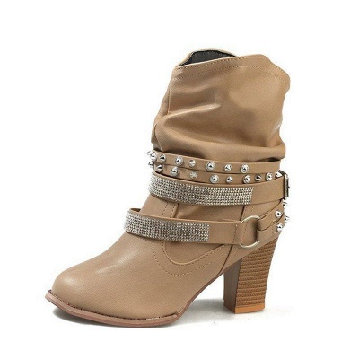 Rivet Chunky Heel Daily Pointed Toe Boots On Sale_10