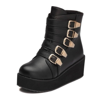 Women's Boots Black Round Toe Wedge Heel Boots On Sale_2