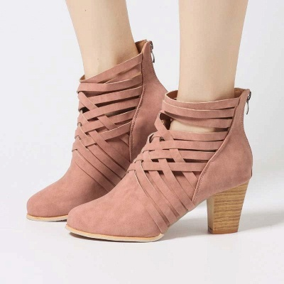 Zipper Pointed Toe Chunky Boots On Sale_7