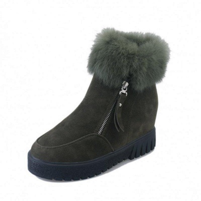 Zipper Fall Suede Chunky Heel Round Boots On Sale_8