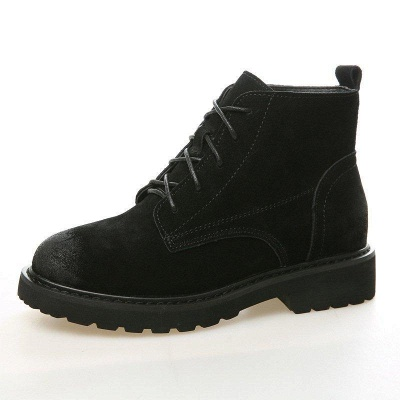 Grind Cowhide Leather Round Toe Boots On Sale_7