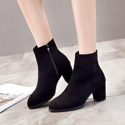 Zipper Chunky Heel Daily Pointed Toe Boots On Sale_3