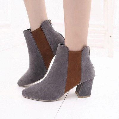 Zipper Daily Chunky Heel Pointed Toe Suede Boots On Sale_3